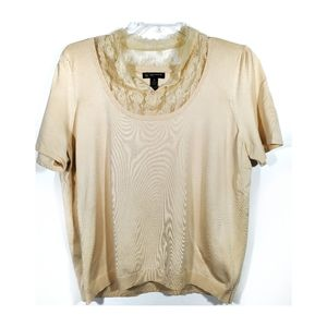 INC cream short sleeved sweater with lace 3x